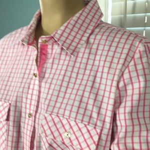 Pink and white checked shirt